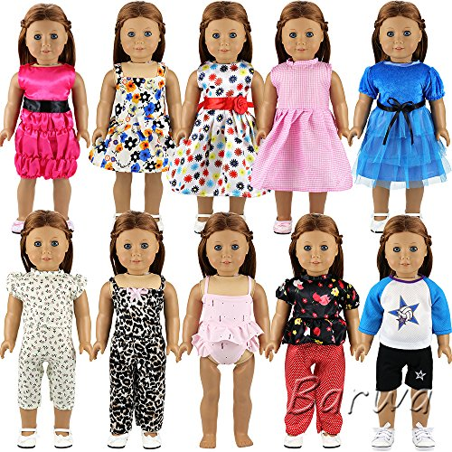 Barwa 10 Sets Doll Clothes 5 Sets Clothes Outfits and 5 Sets Dress for 18 Inch American Girl Doll Xmas (Dress Girl Doll)
