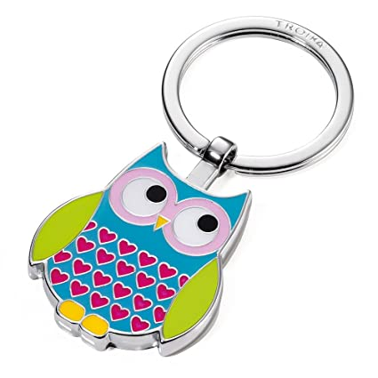 TROIKA ROSY – KR14-13/BL – Keyring – cast metal/enamel– shiny – chrome plated – multicoloured – TROIKA-original