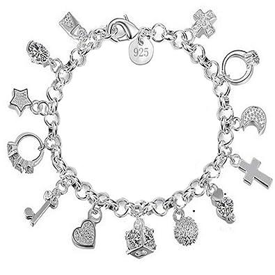 Charm Bracelet Women Silver Jewelry Hand Chain Pendants Decoration   Amazon.co.uk  Jewellery e967799b9