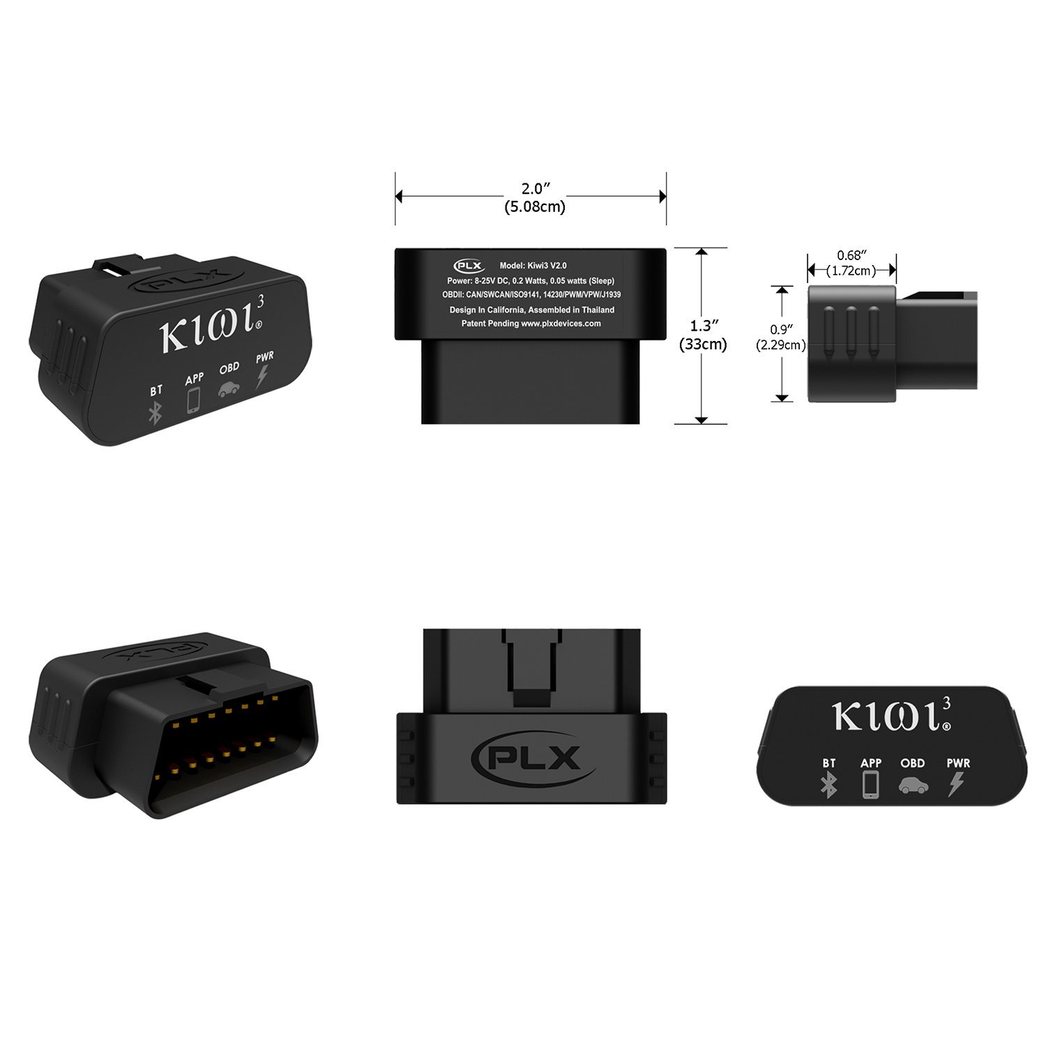 PLX Devices Kiwi 3 Bluetooth OBD2 OBDII Diagnostic Scan Tool for Android, Apple, Windows Mobile by PLX Devices (Image #2)