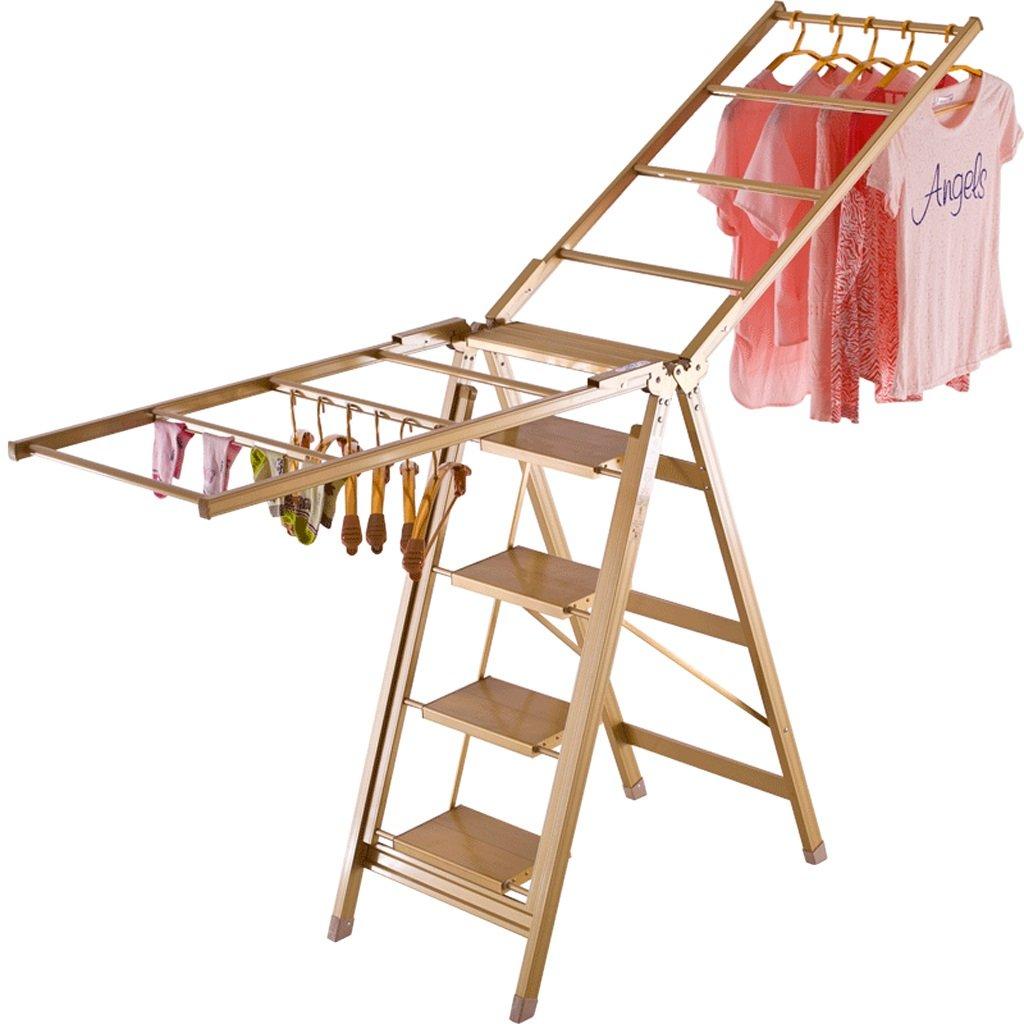 Wing-type Folding Drying Rack, Four-step Ladder Household Flip-flops, Multifunctional Indoor Drying Rack, Aluminum Alloy-L206cm W87cm H110cm, Load-bearing 150kg ( Size : Five steps )