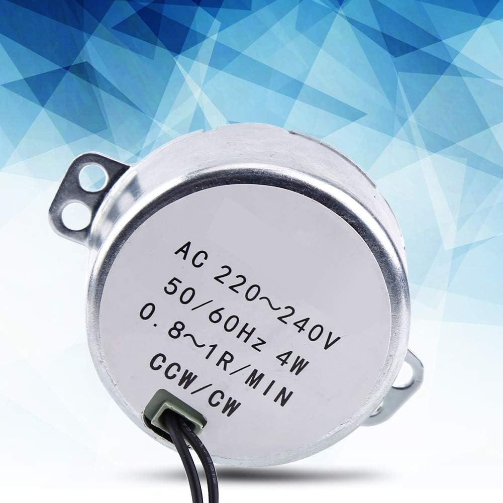 Synchronmotor Gr/ö/ße : 0.8-1RPM 4 W CW//CCW Elektrischer Plattenspieler-Motor F/ür Becherdreher 220-240 V AC Elektrischer Synchronmotor Mit Kupplungsstecker