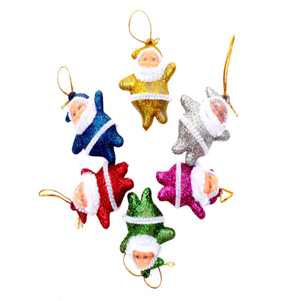 JUST N1 Pack of 6 Painted Santa Christmas Tree Ornaments for Christmas Tress Decoration