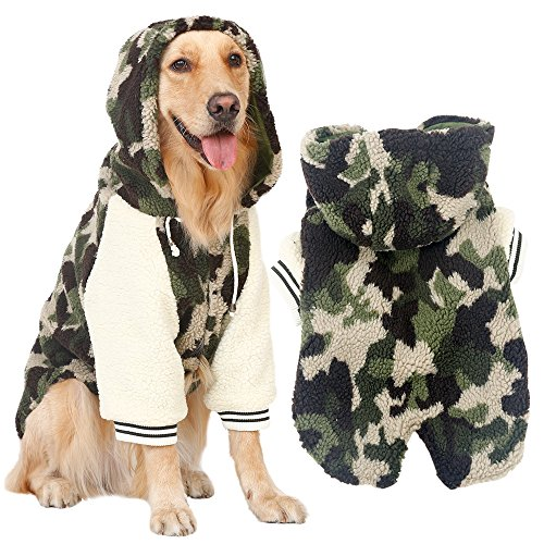 Winter Warm Fleece Big Large Dog Coat Jacket Camouflage Dog Puppy Hoodie Pajamas Clothing Golden Retriever Pitbull Dog Clothes (4XL, (Camo Dog Hoodie Clothes)