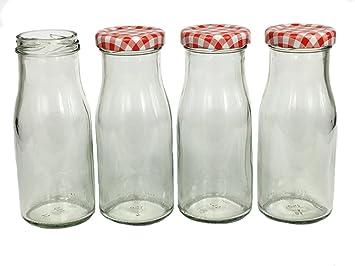 Juego de botellas de cristal (con tapón de rosca rojo ...