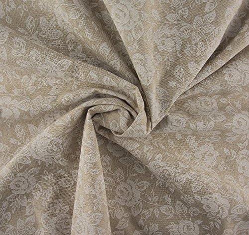 Algodón grueso de la tela Beige con estampado de rosas blancas - 0,60 m x 1,06 m: Amazon.es: Hogar