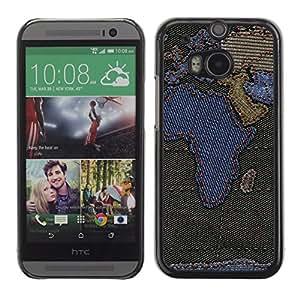 QCASE / HTC One M8 / áfrica continentes mapa europa península árabe / Delgado Negro Plástico caso cubierta Shell Armor Funda Case Cover