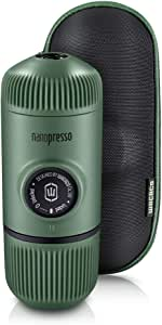 WACACO Nanopresso Portable Espresso Maker Bundled with Protective Case, Upgrade Version of Minipresso, Mini Travel Coffee Machine, Perfect for Camping, Travel and Office(New Elements Moss Green)