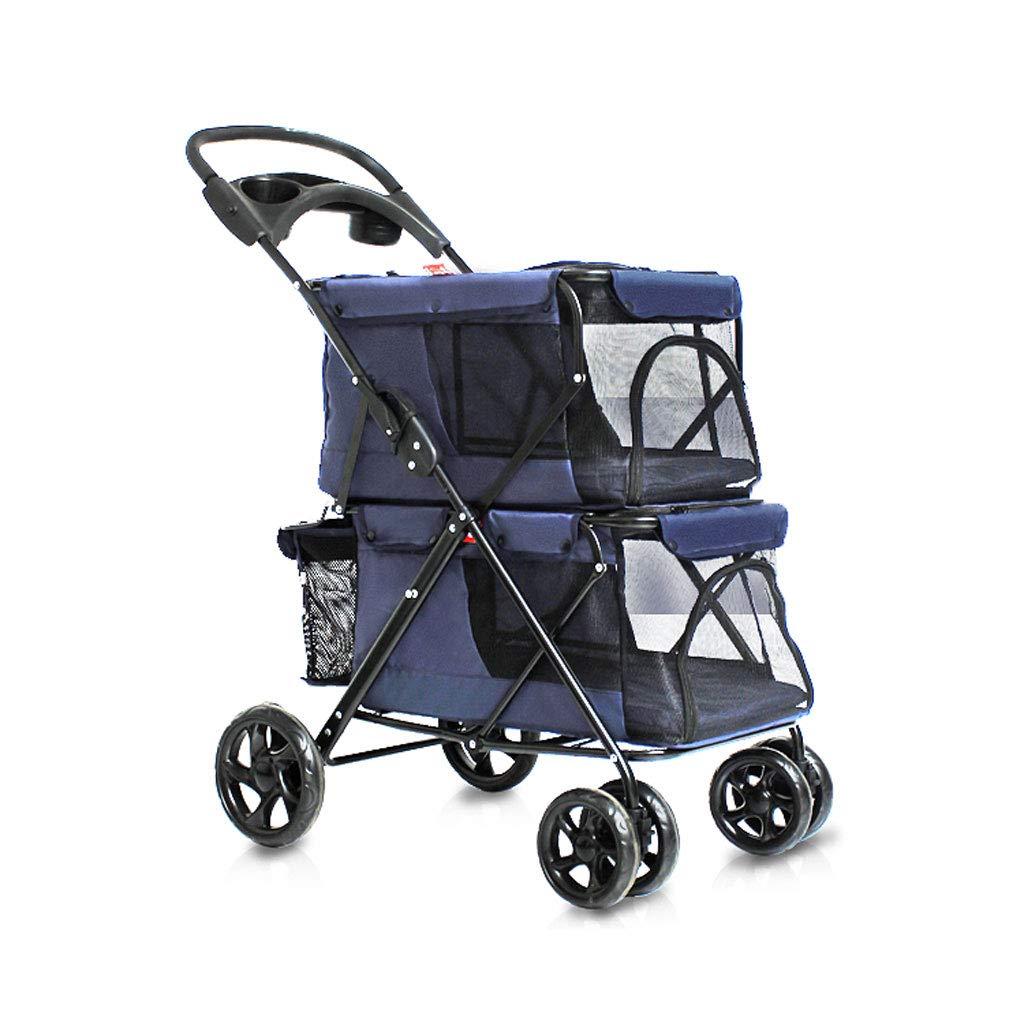 bluee GWM Puppy Cat Pet Travel Stroller Pet Trolley Pushchair Rear Brakes Maximum Load 20 kg (color   bluee)