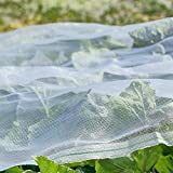 Agfabric Standard Insect Screen & Garden Netting against Bugs, Birds & Squirrels - 16ftx30ft of Mesh Netting, White