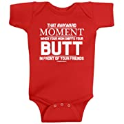 Threadrock Baby That Awkward Moment When Mom Sniffs Your Butt Infant Bodysuit 6M Red