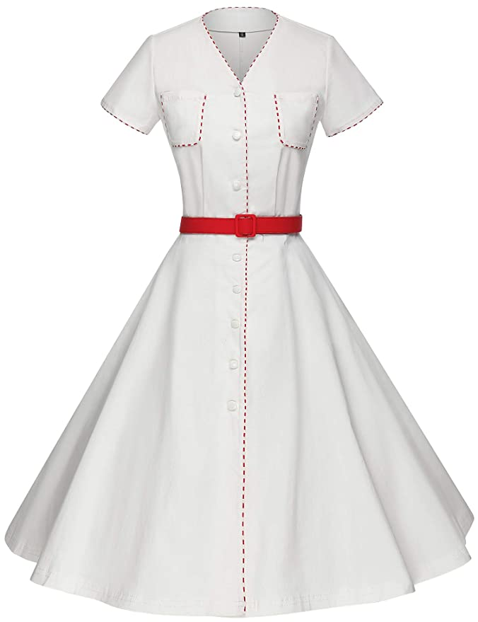 500 Vintage Style Dresses for Sale | Vintage Inspired Dresses GownTown Womens 1950s Vintage Style Ivory Stretchy Swing Dress $34.99 AT vintagedancer.com