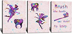 """Tooth Fairy Watercolor Dental Clinic Wall Art Kids Bathroom Decor Painting Canvas Prints Framed Gallery Wrapped 12""""x16""""x3Pcs"""