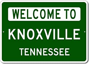 """VinMea Personalized Metal Sign Indoor/Outdoor Wall Decor,Knoxville, Tennessee - Welcome to Us City State Sign - Aluminum 8"""" X 12"""" Inch, Man Cave Street Sign,"""