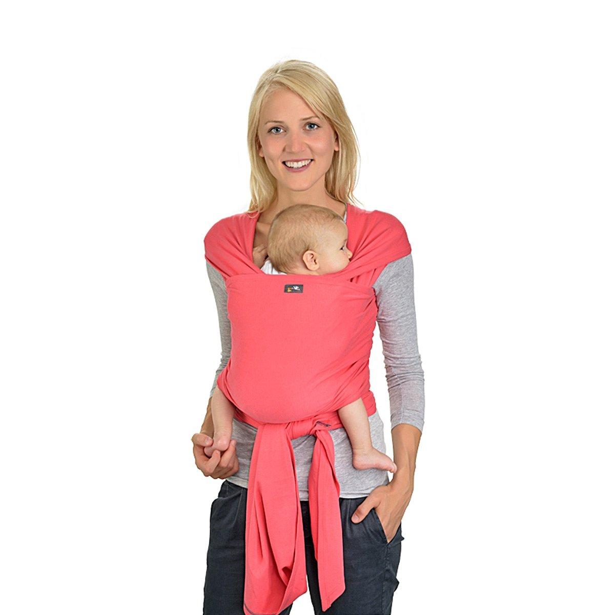 HOPPEDIZ elastisches Tragetuch für Früh- und Neugeborene, inkl. Trageanleitung, 4,60m x 0,50m, Olive eb-l-oli