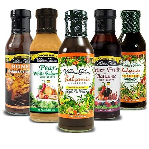 - Walden Farms Calorie Free Salad Dressings, No Fat, Carbs, Gluten or Sugars- Pack of 5- Balsamic Pear & White Balsamic, Honey Balsamic, Super Fruits Balsamic, Raspberry Vinaigrettes