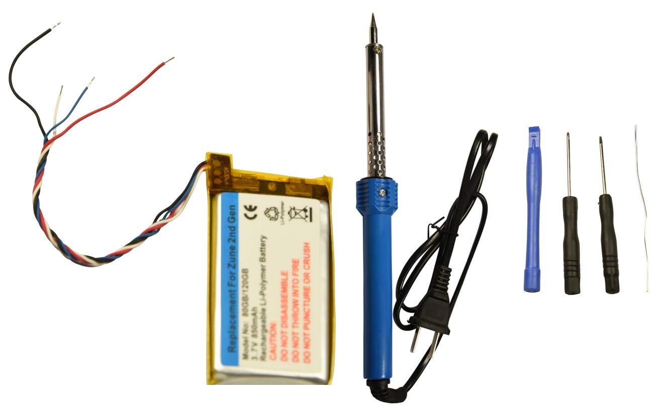 Replacement Battery + Tool for Microsoft Zune 80gb 120gb 2nd Gen 850mAH Repair Part (Battery + Tool Kit)
