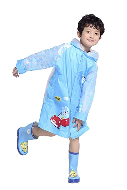 Aircee Cute Raincoat for Kid Girl Boy Rain Jacket Poncho Hooded Inflatable  Rain Coat Schoolbag Cover Reusable Rainwear