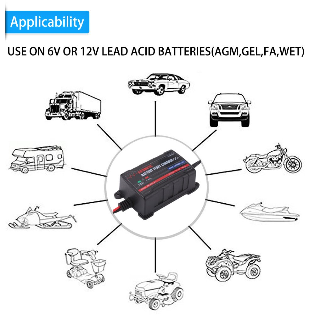 Qiilu 0.75A 6V 12V Automatic Battery Trickle Charger Maintainer for Car Motor ATV RV (American Plug) by Qiilu (Image #6)