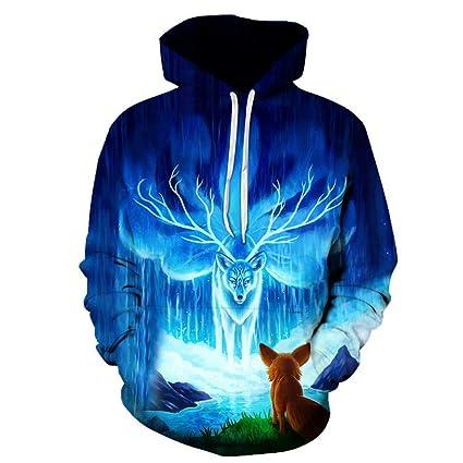 GSYDLMS Sudadera con Capucha 3D Outwear Blusa Abrigo de Moda Chaqueta de Invierno con Sombrero Sudadera