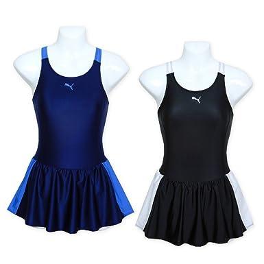 4fcd12592be82 Amazon   (ブラック/160cm)子供 スクール水着 スイムウエア PUMA プーマ 女の子 ワンピース スカート付 ブランドロゴ 配色切替 女児  ジュニア   水着 通販