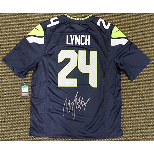 new style dfc56 1bd35 Seattle Seahawks Marshawn Lynch Signed Autograph Blue Nike ...