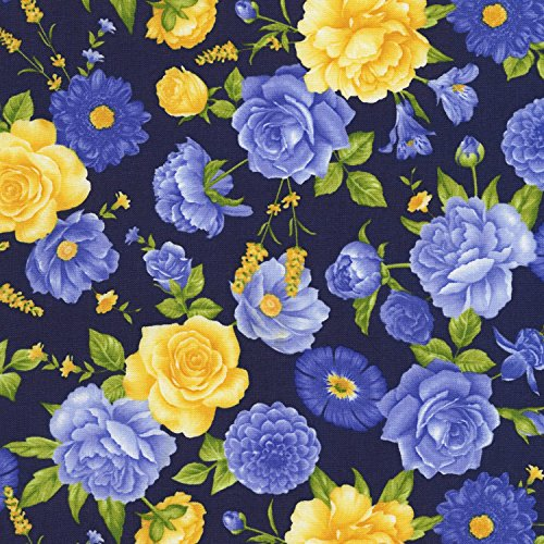 Beautiful Blue, Yellow Medium Floral, Navy, Timeless Treasures, Angelica, Chong-a-Hwang, C6600-MIDN, by The Yard ()