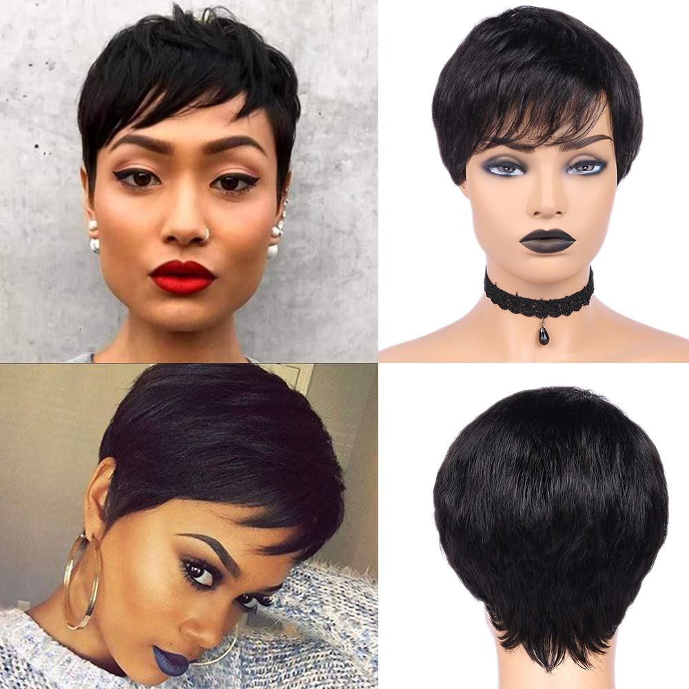 Human Hair Wigs Pixie Cut Wigs Short Brazilian Virgin Human Hair Wigs  Cosplay Party Daily Full Wigs for Black Women