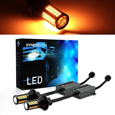 Syneticusa Error Free Canbus Ready Yellow/Amber LED Front/Rear Turn Signal Light Bulbs DRL Parking Lamp No Hyper Flash All in One With Built-In Resistors (3157): Automotive