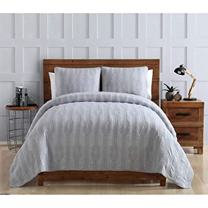 Amazon.com: 3 Piece Beautiful Grey King Quilt Set, Nautical ...