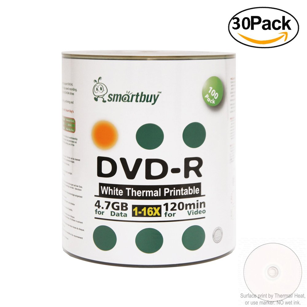 Smartbuy 4.7gb/120min 16x DVD-R White Thermal Hub Printable Blank Recordable Media Disc (3000-Disc)