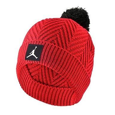 9cb14b47d7b Nike Jordan Herringbone Knit Cuffed Cap Winter Pom Beanie Cold Weather Hat  (Bull s Red