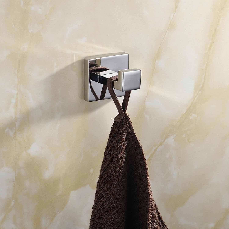 ThinkTop 5pcs Luxury 304 Stainless Steel Bathroom Single Towel Hook Robe Chrome Wall Mount Coat Hat Door Hook Hanger Mirror Polished Bathroom Accessories by ThinkTop (Image #2)