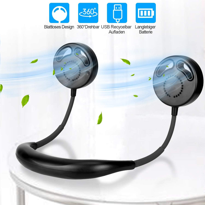 TAECCL Ventilador portátil, USB, silencioso, sin manos, sin hojas ...