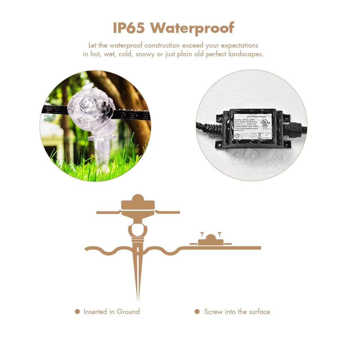 Sunix Spotlichter Für Outdoor, IP65 Wasserdichter LED  Außenbeleuchtungssatz, RGB Farbwechsel Mit 9 Spotleuchten, DC5V 2A Netzteil  ...