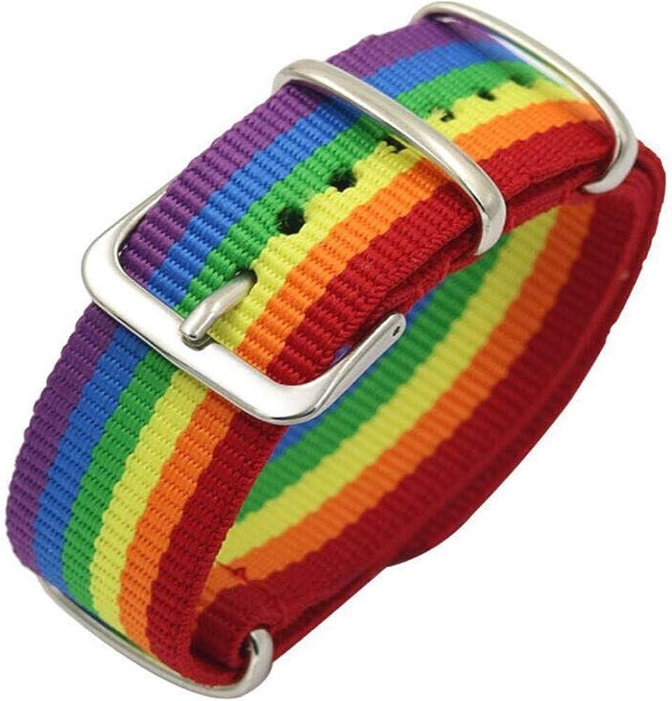Nanafast Rainbow Bracelet Nylon Watch Band 18mm 20mm 22mm LGBT Pride Bracelet Adjustable Wristband for Men Women