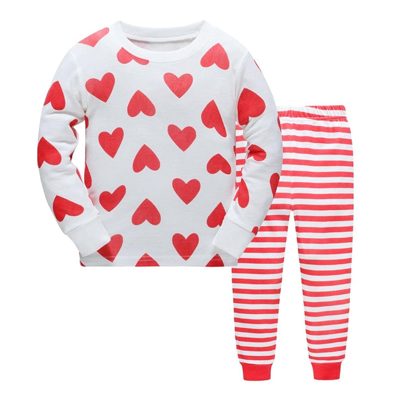 Girls Pajamas Red Hearts Children Pjs Kids Rib Long Sleeves Cotton Clothes Set