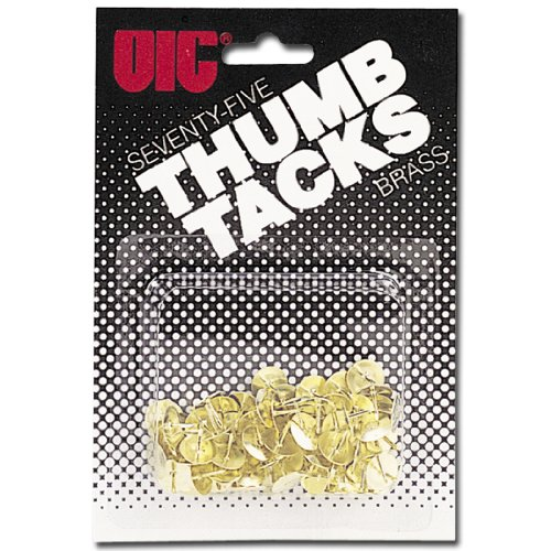 Officemate OIC Thumb Tacks, 2 Brass Plated, Gold, 75 Pack (30150) ()