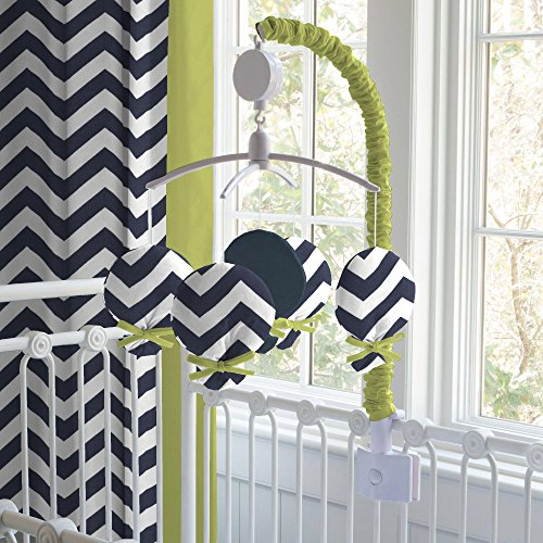 Carousel Navy and Citron Zig Zag Mobile