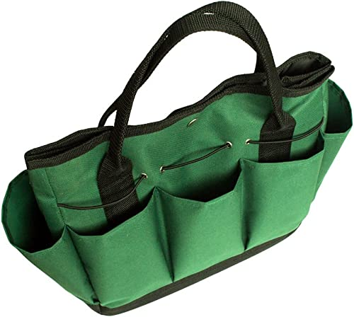 Gfuny Garden Tote, Garden Tote Bag with Pockets 8 Pockets , Garden Tote Large Organizer Bag with Side Pockets Handles Tools Not Included – Dark Green