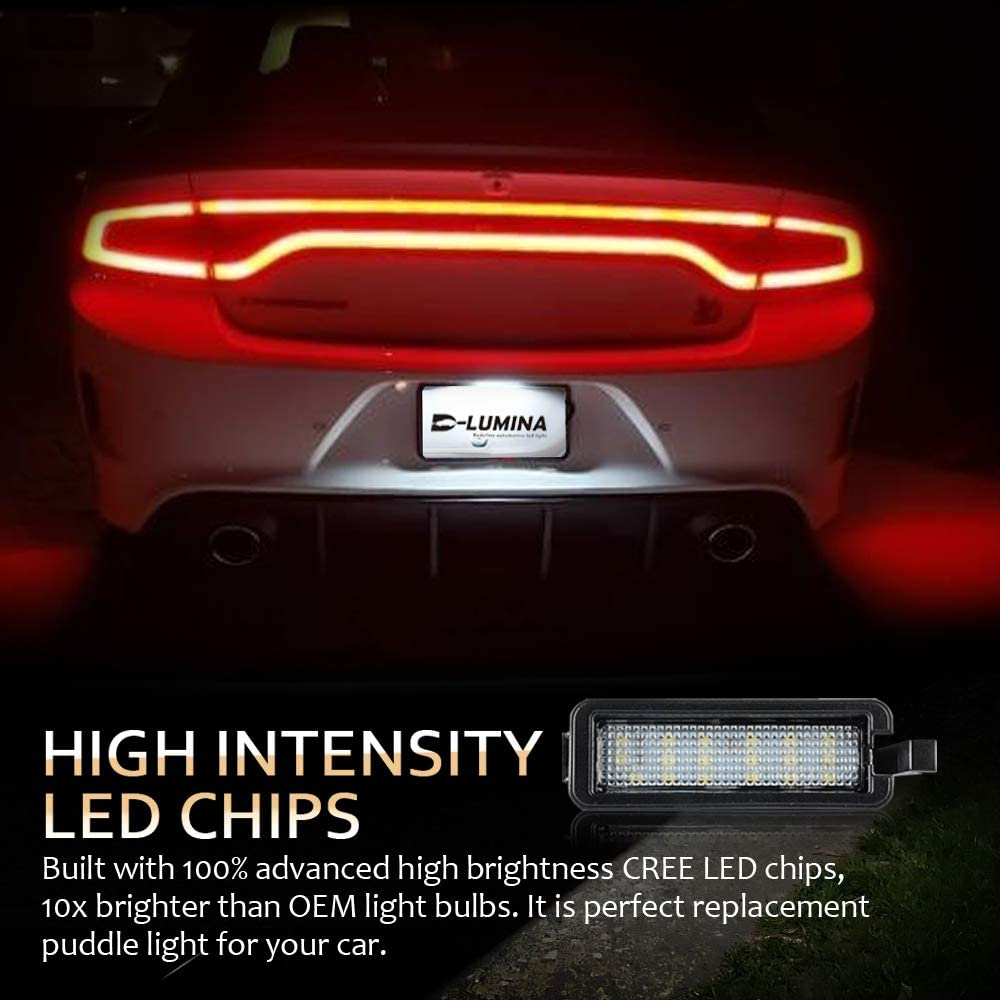 D-Lumina LED License Plate Light Tag Lamp Assembly 3W Compatible with 2015-2020 Dodge Charger Challenger Chrysler 300 Pacifica and Compass Powered by 18-SMD Xenon White LED 6500K 1-Pieces