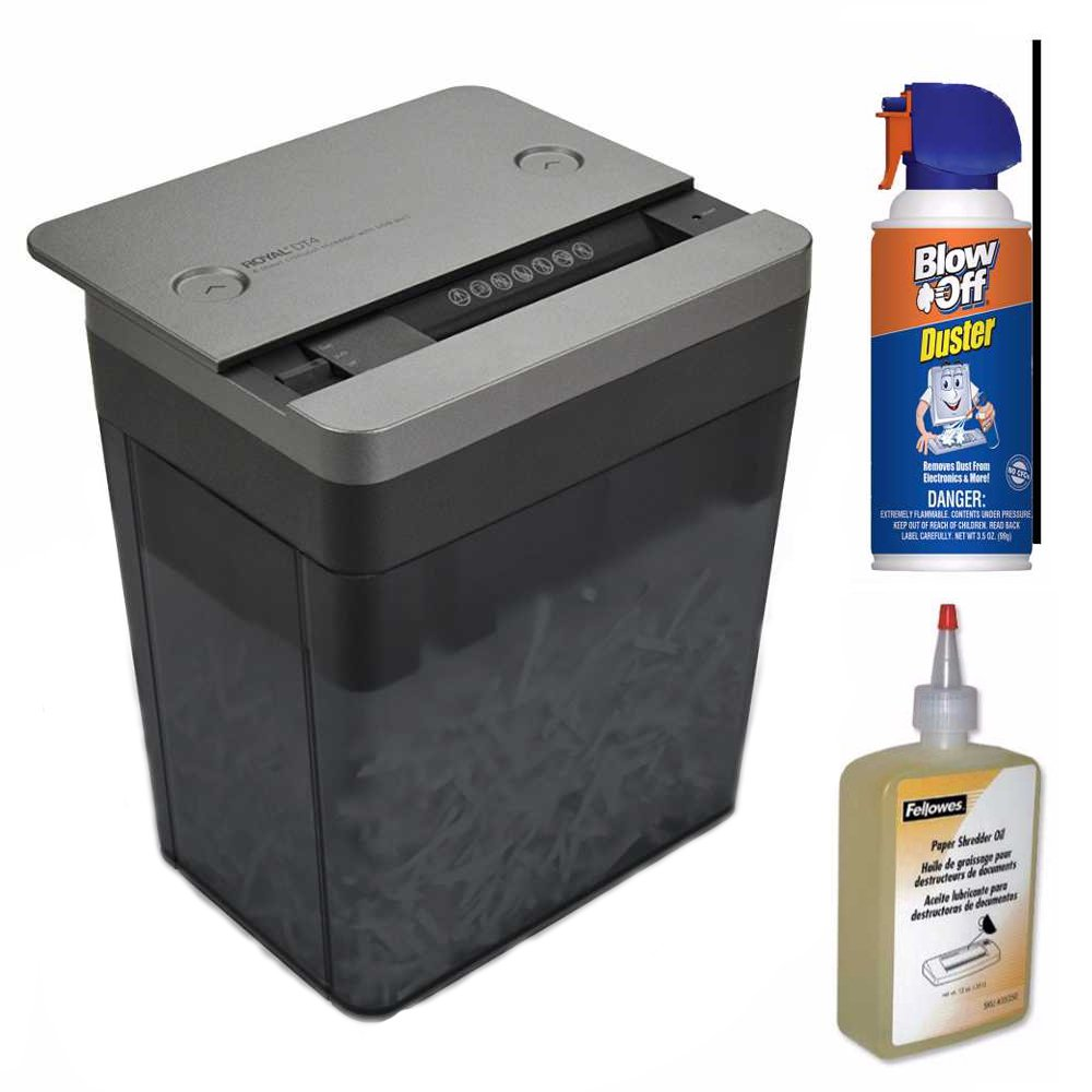 Royal Desktop Shredder with USB Power Port + Shred Lubricant Oil + Blow Off Air Duster Cleaner Bundle