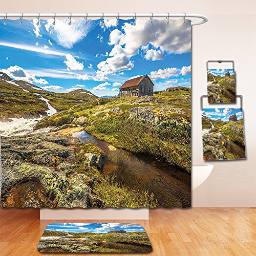 Cotton Shower Highland Curtain (Nalahome Bath Suit: Showercurtain Bathrug Bathtowel Handtowel Farm House Decor Collection Abandoned House into Wilderness by River on Hillside with Stones Highland Landscape Geen Blue)