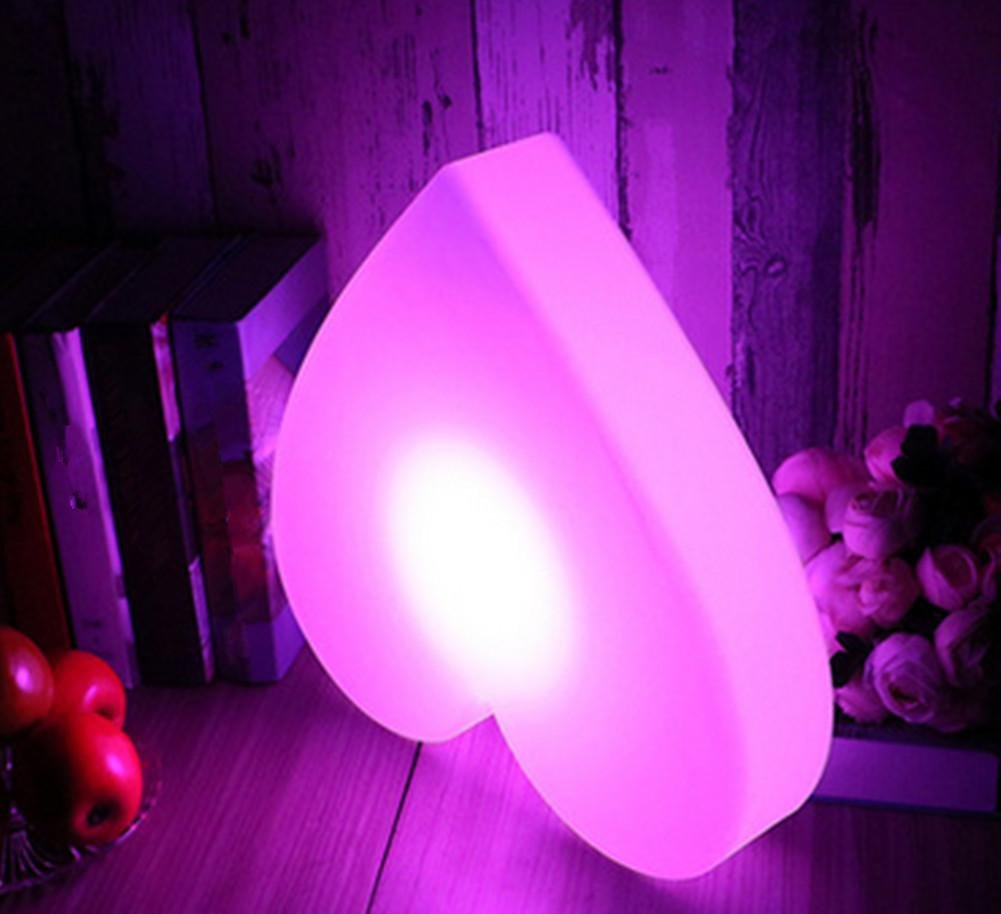 DMMSS Led Rechargeable Love Light Simple Remote Control Desk Lamp Bedroom Decoration Bedside Lamp Colorful Night Light (40 8Cm)