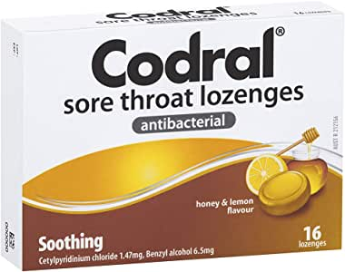 CODRAL CODRAL Sore Throat Lozenges Honey & Lemon 16, 0.05 kilograms