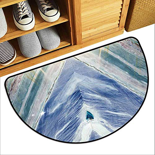 DILITECK Pet Door mat Marble Onyx Stone Tribal Style with Color Elements Agate Authentic Pattern Country Home Decor W24 xL16 Teal Dark Blue Light Grey