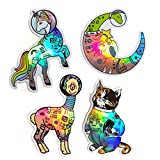 Compoco Space Animals 4.5'' Stickers Holographic Astronaut Vinyl Decal Rainbow Set