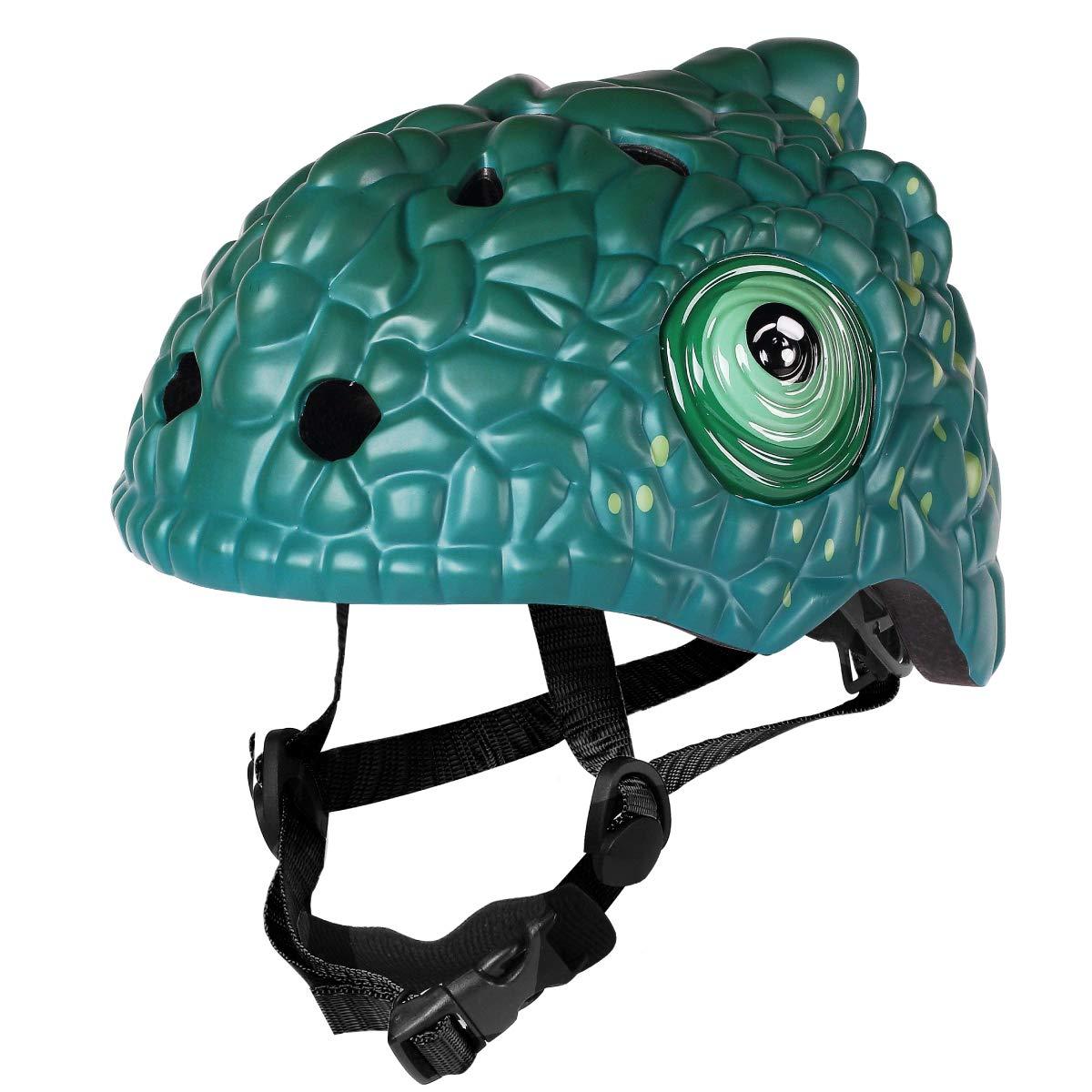 M Merkapa Kids Bike Helmet Adjustable 3D Shark Bicycle Helmets for Toddler and Youth (Chameleon)