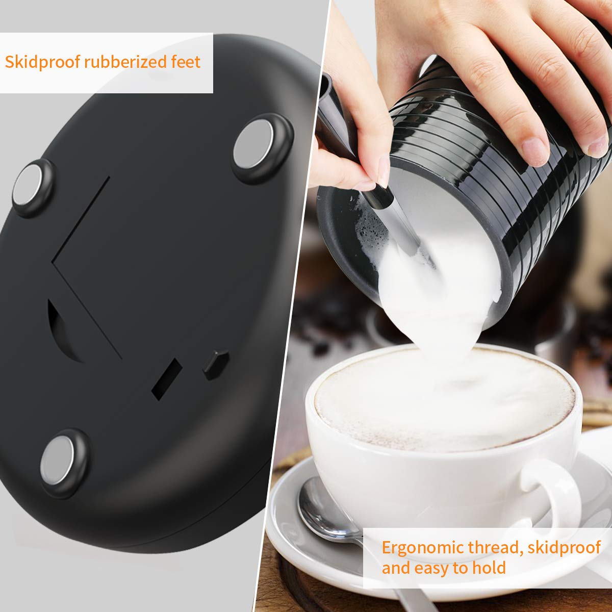 Milk Frother Electric, Milk Steamer for Hot and Cold Milk Froth, Rapid Soft Foam Maker with Non-Stick Interior, Perfect for Cappuccino Hot Chocolate/Coffee/Latte, 400W, 240ml, Black