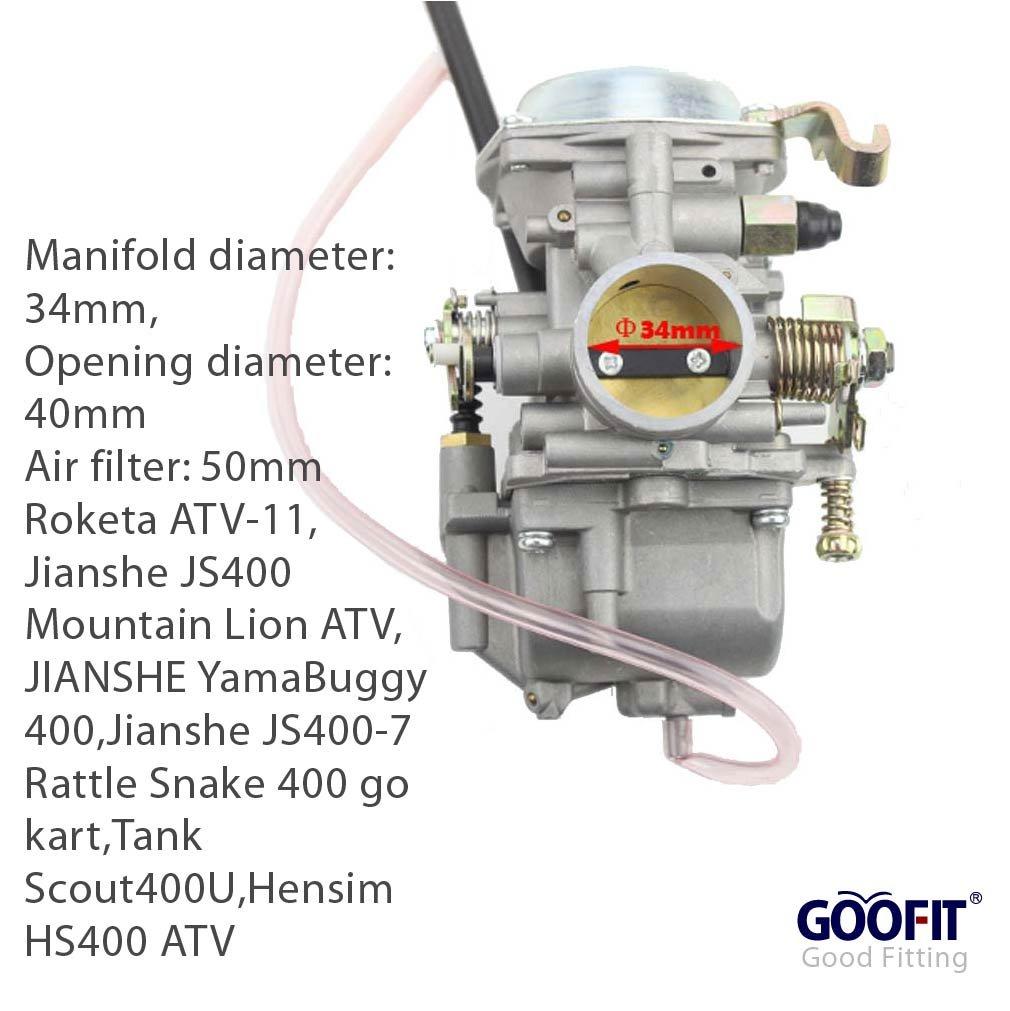 Goofit 34mm Carburetor For Roketa Atv 11 Jianshe Js400 250cc Wiring Diagram Free Download Mountain Lion 400cc Yamabuggy Go Kart Kf Automotive
